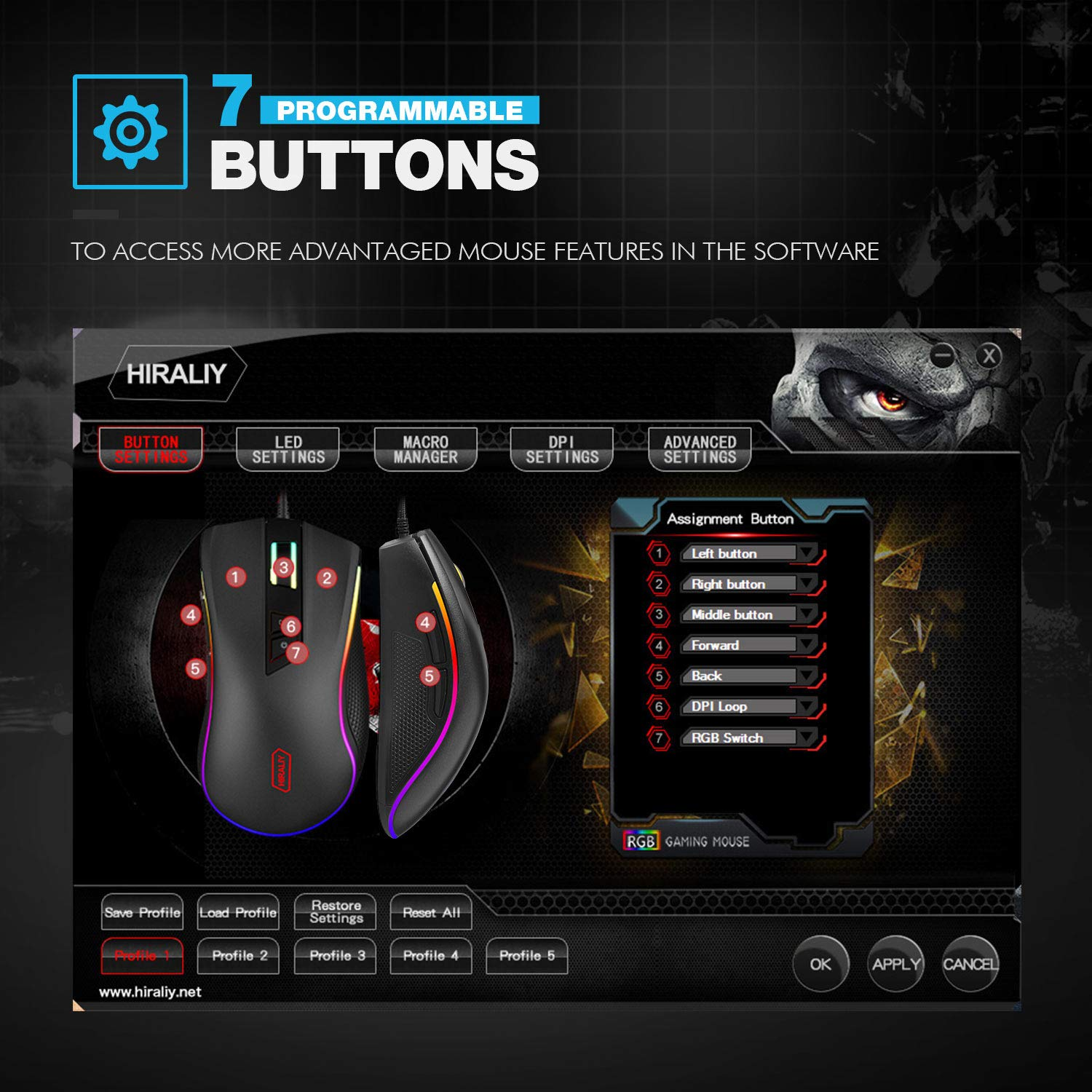 Programmable RGB Gaming Mouse, HIRALIY 5000 DPI Wired RGB Backlit Wired Optical Gaming Mouse (F300): Amazon.es: Informática