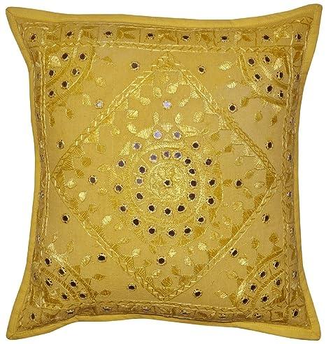 NANDNANDINI - Funda de almohada hippie hindú bordado hecho a ...