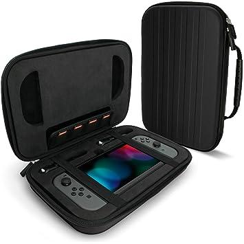 igadgitz Negro EVA Funda Rígida de Transporte para Nintendo Switch Carcasa Viaje Case Cover con Prueba de Golpes Interior & Asa