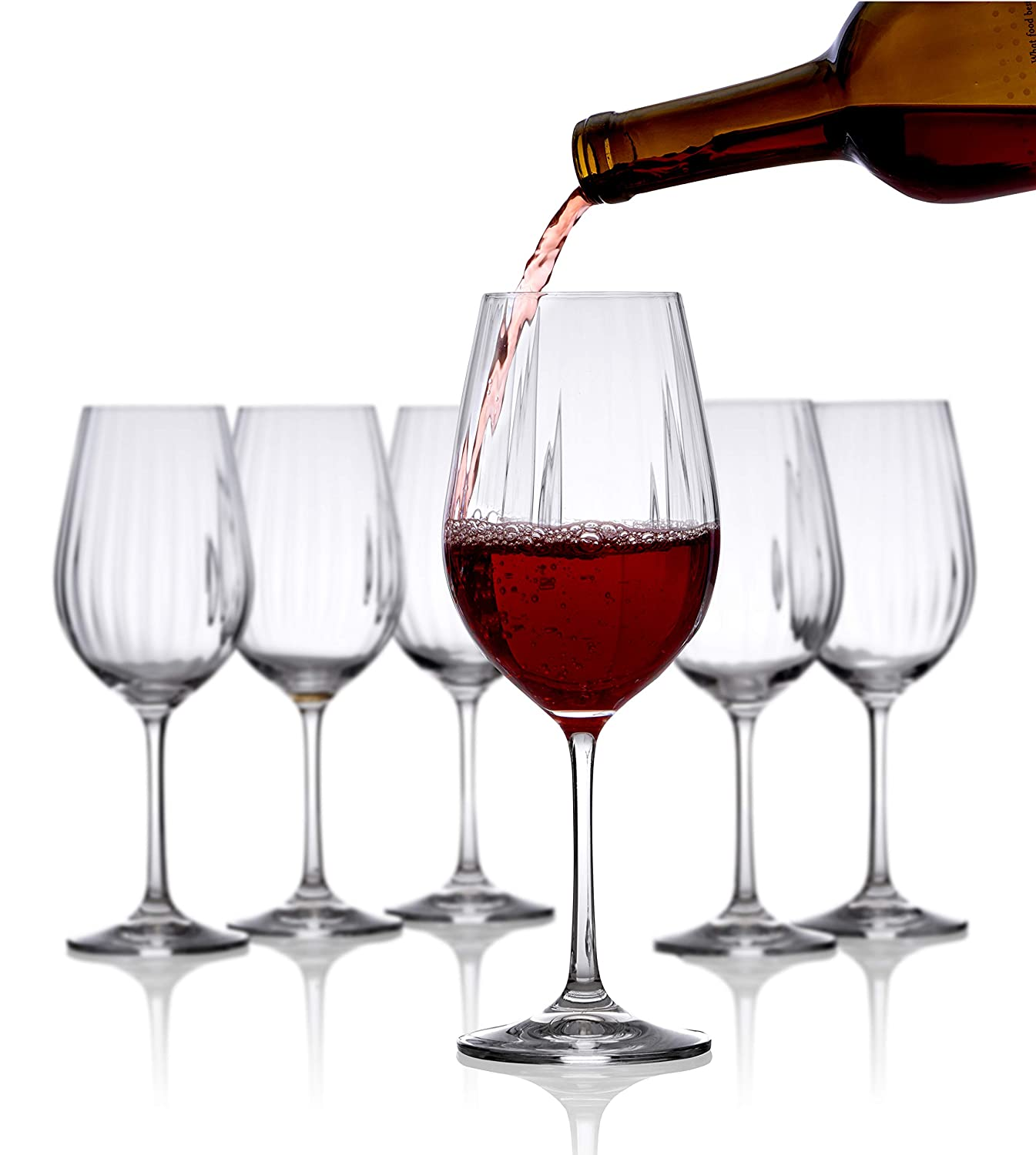 87df0a70cdd Wine Glasses Set of 6 - Pure Crystal Red Wine Glasses - Waterfall Edition -  16 Ounces