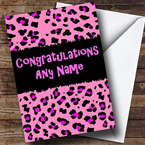 pink leopard print personalized congratulations greetings card
