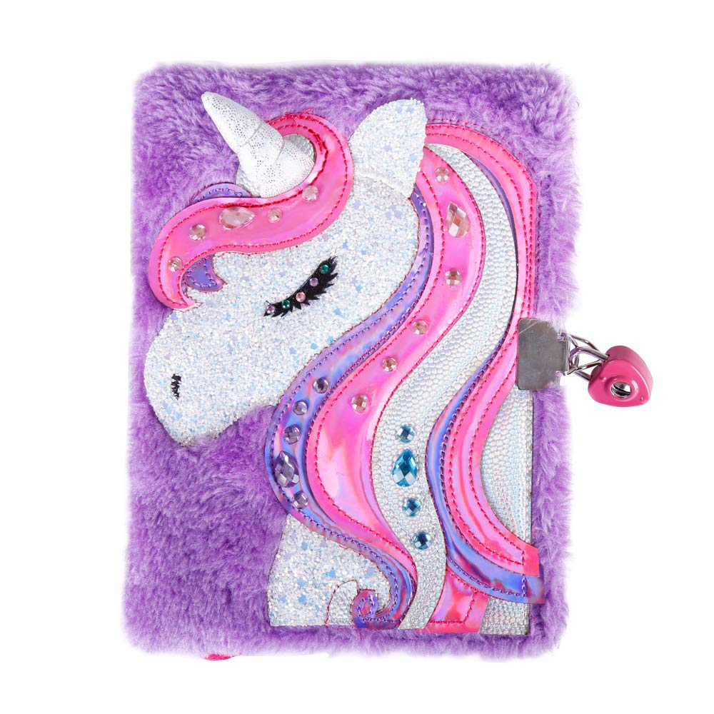 FUMOXING Unicorn Diary with Lock and Keys for Girls Purple Magic Reversible Sequin Journal Secret Travel Notebook for Kids