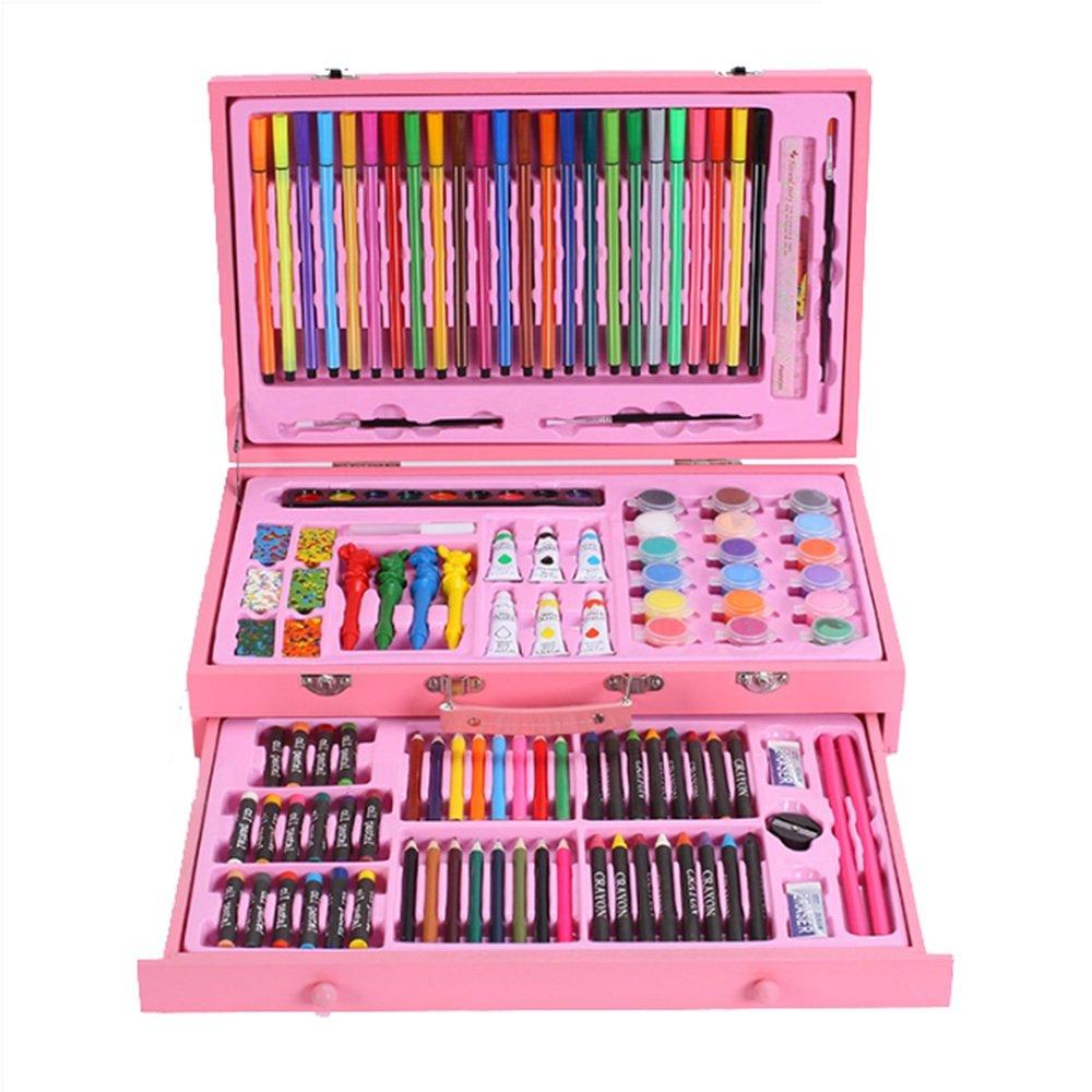 Children's Painting Suit School Supplies School Children's Brush Painting Pastel Crayon Art Stationery Gifts (Color : Pink)