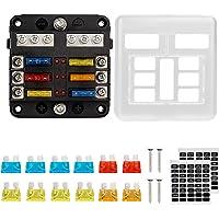 Thlevel Säkringsbox, 6-vägs proppsäkringsblock, 6 kretsar, säkringsbox med negativ buss LED varningsindikator…