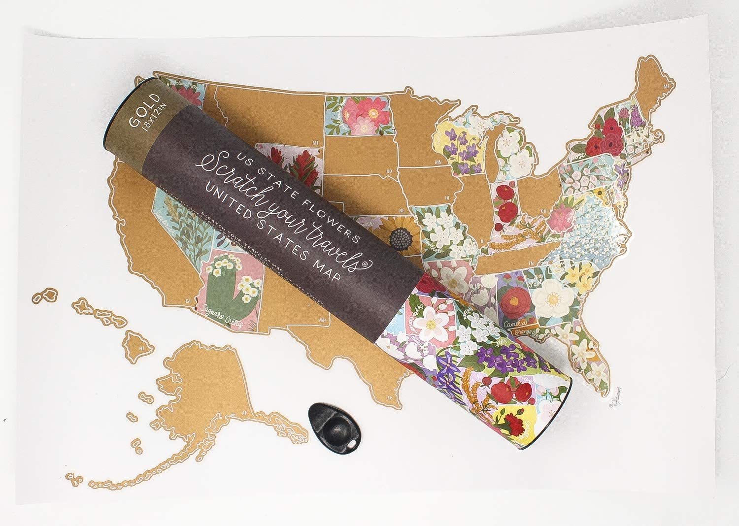 Amazon Com Jetsettermaps Scratch Your Travels Us State Flowers Map Official State Flowers Wall Art Of The United States Of America Gold Posters Prints,Small Bathroom Remodel Floor Plans