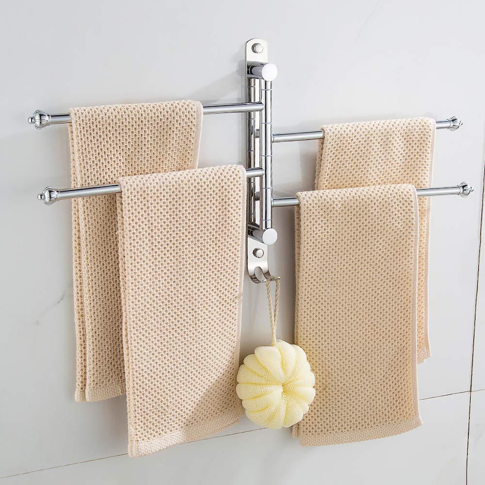 per montaggio a parete con 2//3//4//5 aste extra lunghe e girevole Sinbide Porta Asciugamani Da Parete in acciaio inox 4-Braccio per asciugamani//canovacci da cucina,Nessuna perforazione