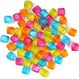 (60-Pack) Reusable Ice Cubes, Plastic Squares for Drinks Like Whiskey, Wine or Beer, To Keep Your Drink Cold Longer. Filled W