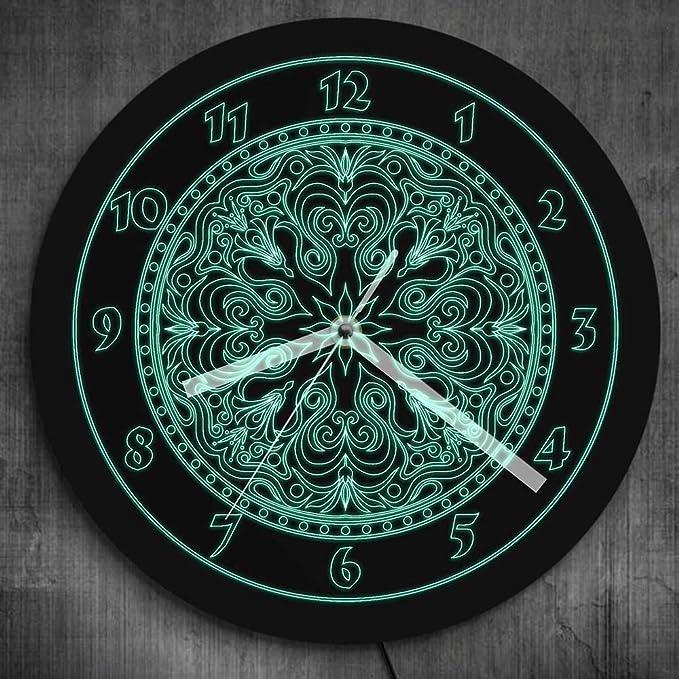 Reloj de pared verde neón mandala led