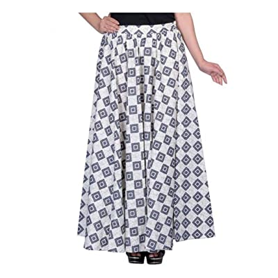 Indian Handicrfats Export kotton trends Geometric Print Women Regular White Skirt