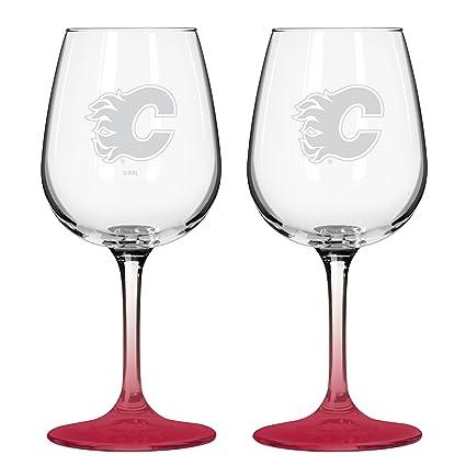 e1ea10ac6c7d Amazon.com : NHL Calgary Flames Wine Glass, 12-ounce, 2-Pack ...