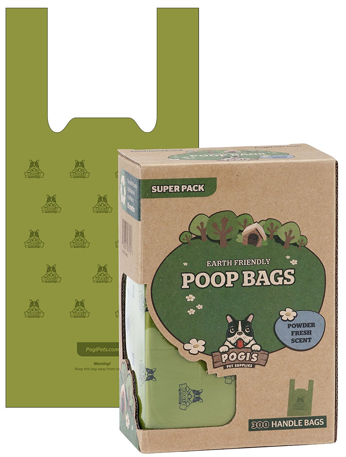 Pogis Pet Supplies Scented Poop Bags with Easy-Tie Handles, 300 count