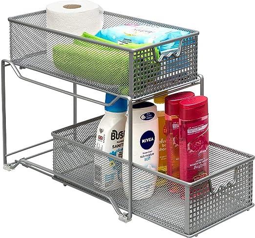 shadiao 2-Tier Sliding Basket Cabinet Organizer Pull out Drawers Under Sink Kitchen//Bathroom Cabinet Organizer