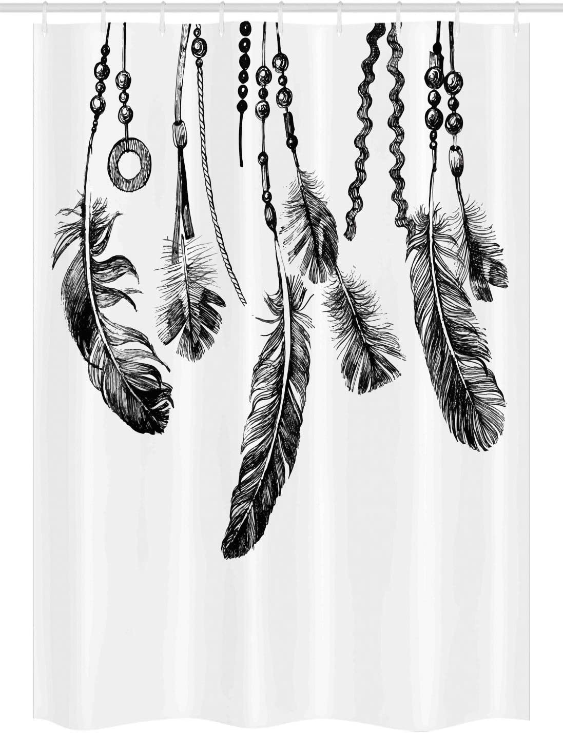 Ambesonne Tribal Stall Shower Curtain, Tribal Feathers for Wisdom and Strength, Fabric Bathroom Decor Set with Hooks, 54