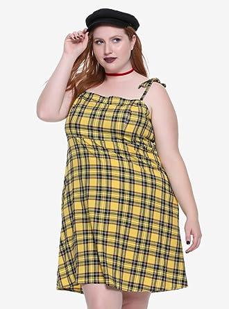 Yellow Plaid Cami Dress Plus Size at Amazon Women\'s Clothing store:
