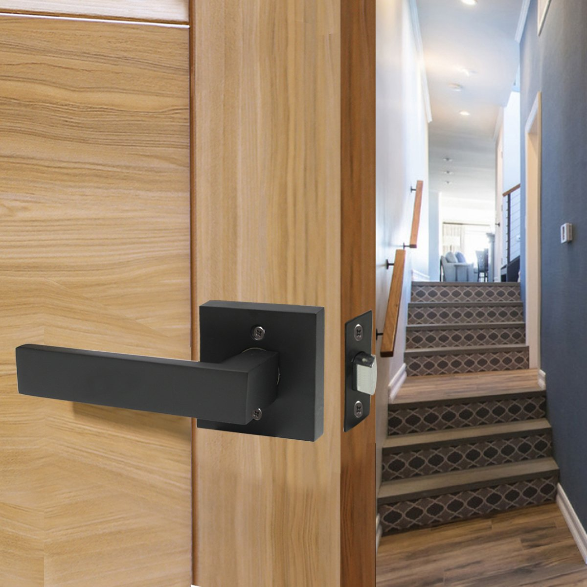 5 Pack Probrico Square Door Lever Door Lock Handle Lockset Keyless Doorknobs Passage Knobs Lockset Interior Hallway Passage Closet DL01-BK-PS in Black by Probrico (Image #8)
