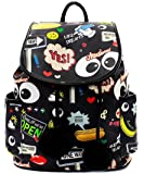 Fashion Faux Leather Emoticon Large Backpack
