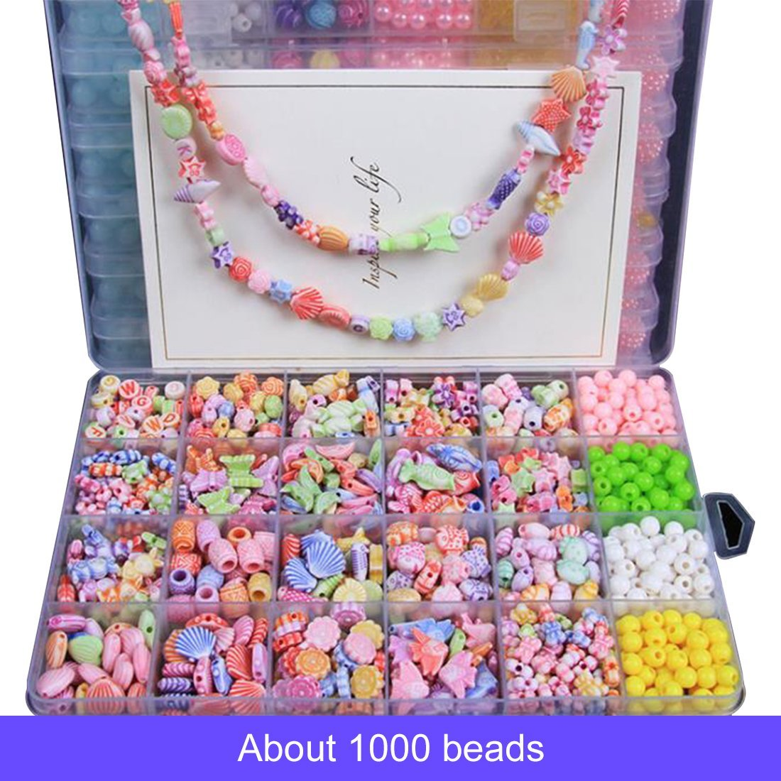 iSuperb DIY Beads Jewelry BPA Free Pop Beads Jewelry Making Kit Kids Beading Supplies for Arts and Crafts Bracelet Rings Making (A)