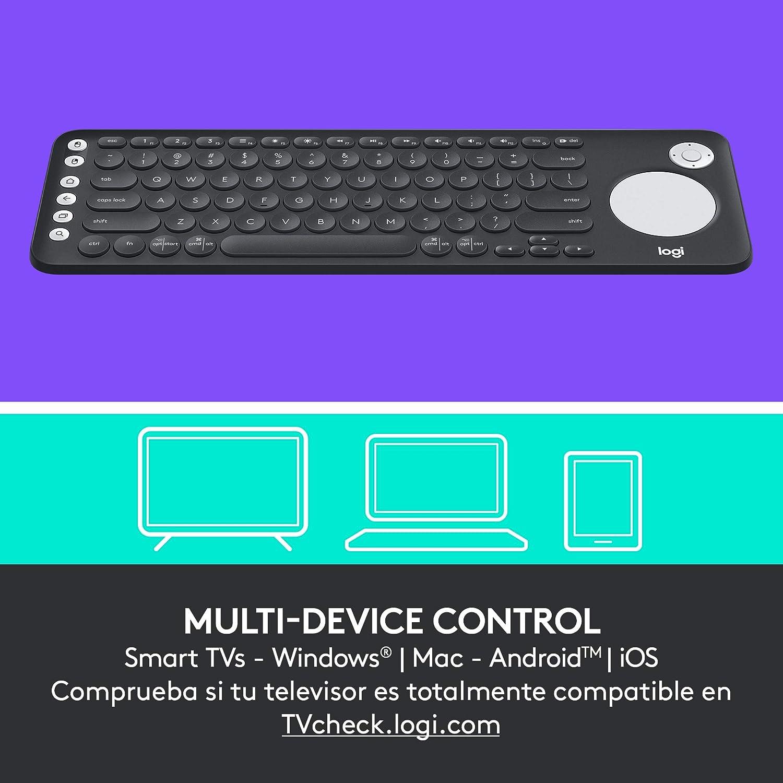 Logitech K600 Teclado con Touchpad y Mando de Dirección para TV y PC, Teclas Multimedia, Multi-Dispositivos, Select Samsung, LG and Sony ...