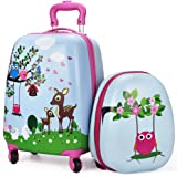 """Kids Luggage & Backpack Set - iPlay, iLearn 16"""" Carry On Luggage with Spinner Wheels and 12"""" Backpacks Set for 3, 4, 5 year olds for Little Kids, Toddlers, Teenage, Boys and Girls (Deer)"""