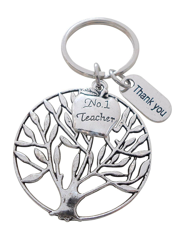 No. 1 Teacher Apple Tree Keychain Appreciation Gift - Teachers Plant Seeds 32914000531