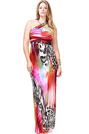 c766ff270a0 Nyteez Women s Plus Size Twisted Halter Tropical Maxi Dress (1X) at ...