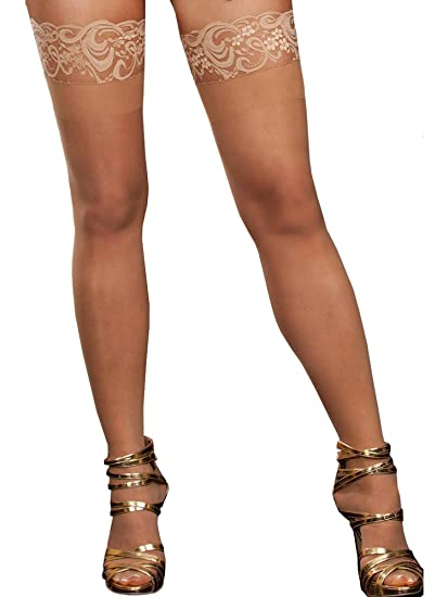 139ec9375468a Amazon.com: Dreamgirl 0005X Women's Plus Size Tuscany Thigh High Stockings  - One-Size-Plus - Nude: Clothing