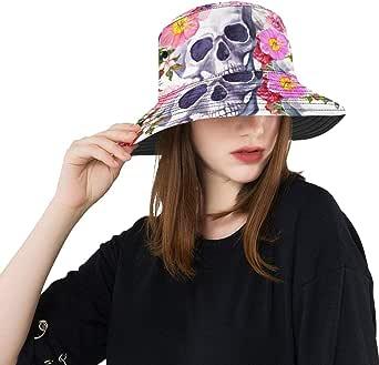 Sombreros de Sol para Mujeres Cráneos Humanos Flores Dia