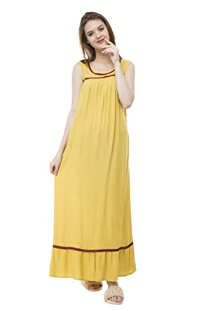 6d356e6c8026 Bhumante Stylish Soft Rayon Yellow Night Gown with Laces for Women   Amazon.in  Clothing   Accessories