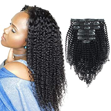 Amazon Sassina Real Thick Clip In Human Hair Extensions Kinky