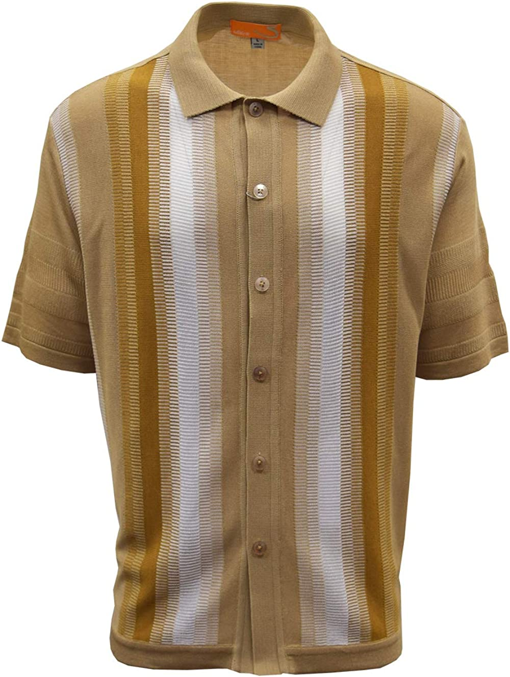 SAFIRE SILK INC. Edition-S Men's Short Sleeve Knit Shirt- California Rockabilly Style: Vertical Geometric Comb Panel