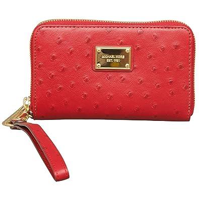 482596121a74 MICHAEL Michael Kors Essential Zip Wallet for Apple iPhone in Red   Handbags  Amazon.com