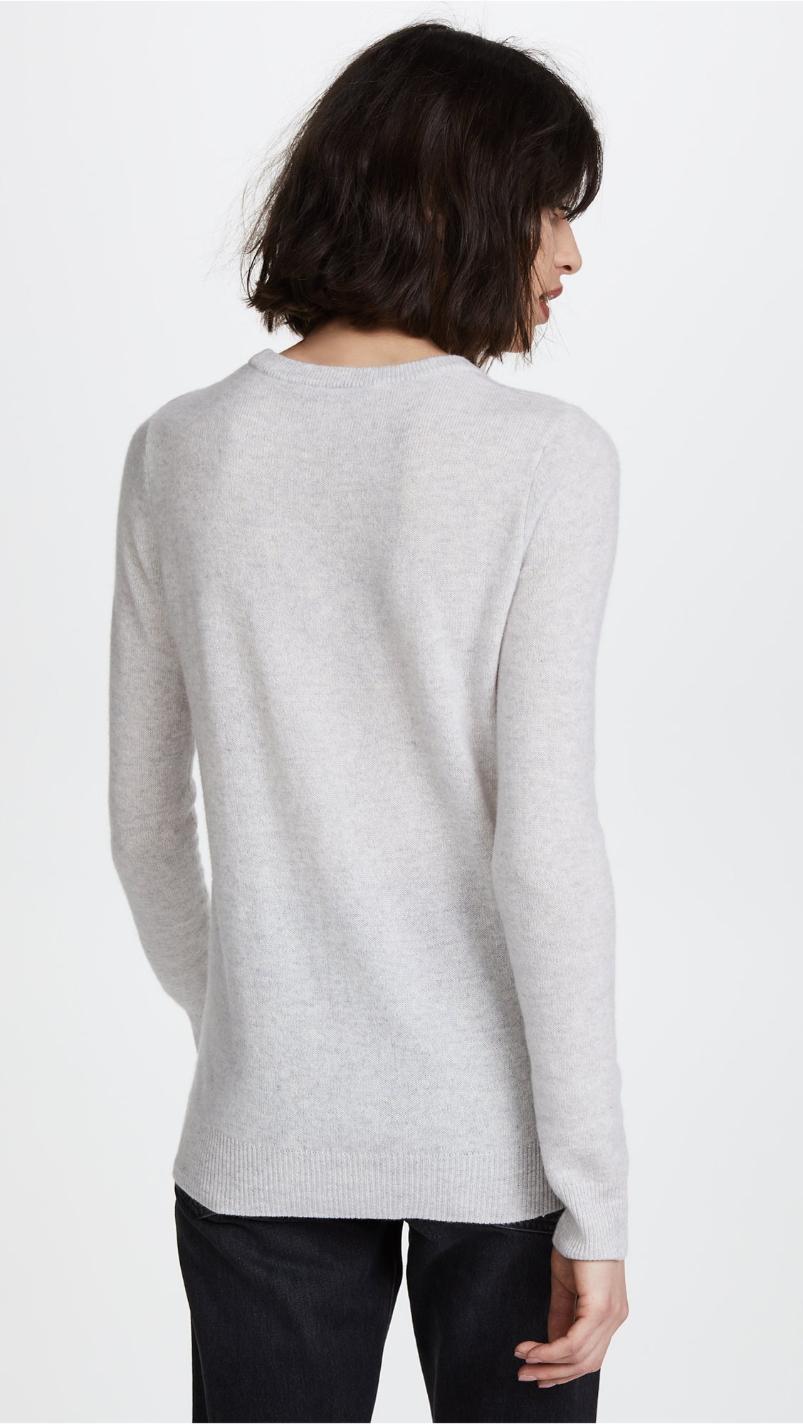 Autumn Cashmere Women's Intarsia Cashmere Sweater, Sleet/Navy Combo, X-Small by Autumn Cashmere (Image #3)