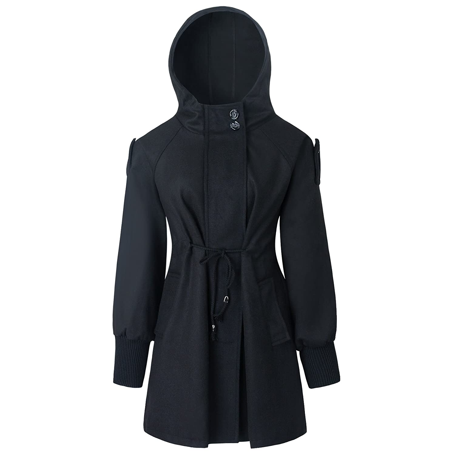Caracilia Women's Collect Waist Slim Jacket Hooded Wool Outwear Coat With Belt