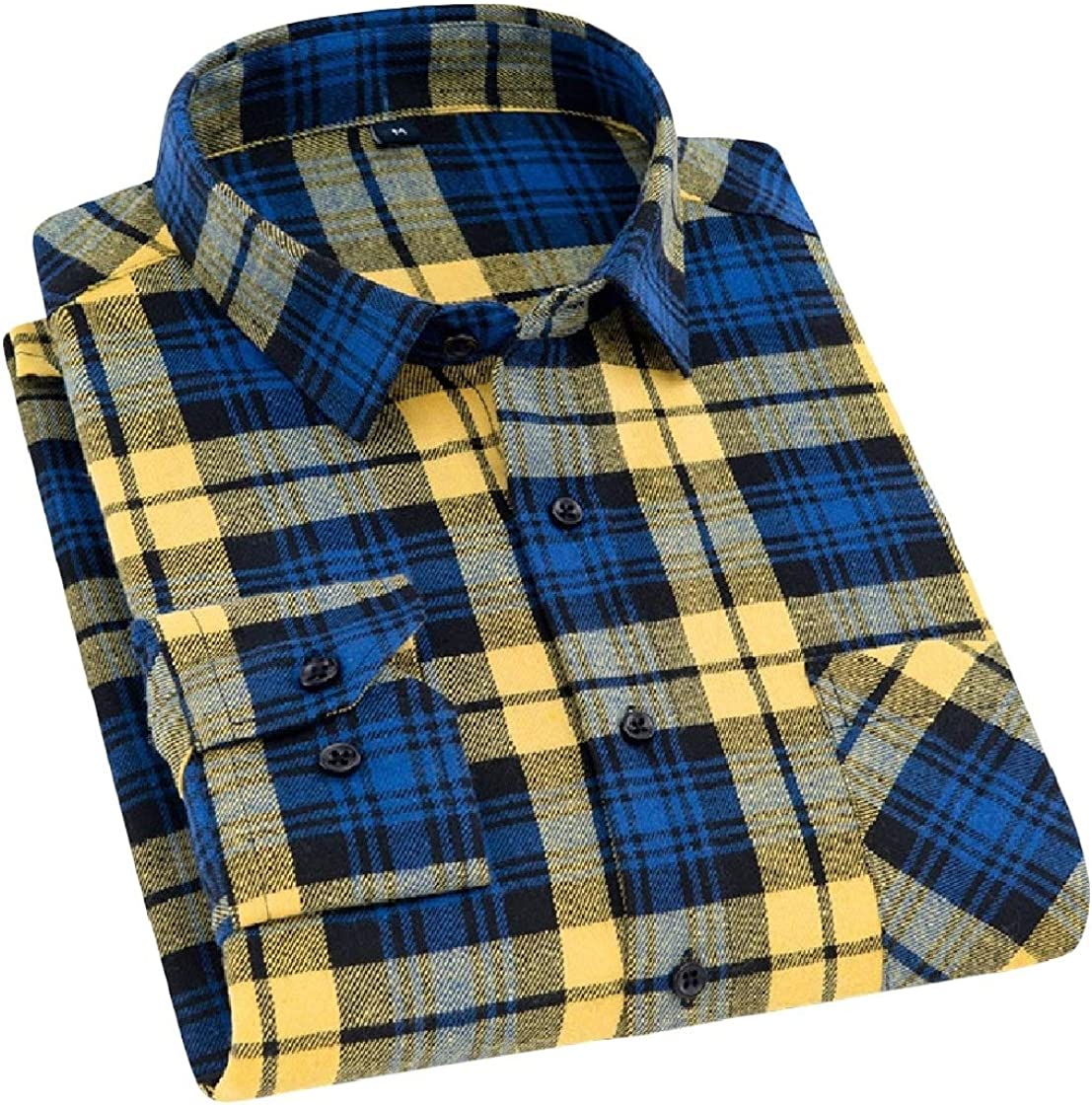 YUNY Men Turn Down Collar Long Sleeve Plaid Casual Relaxed-Fit Flannel Shirt AS7 L