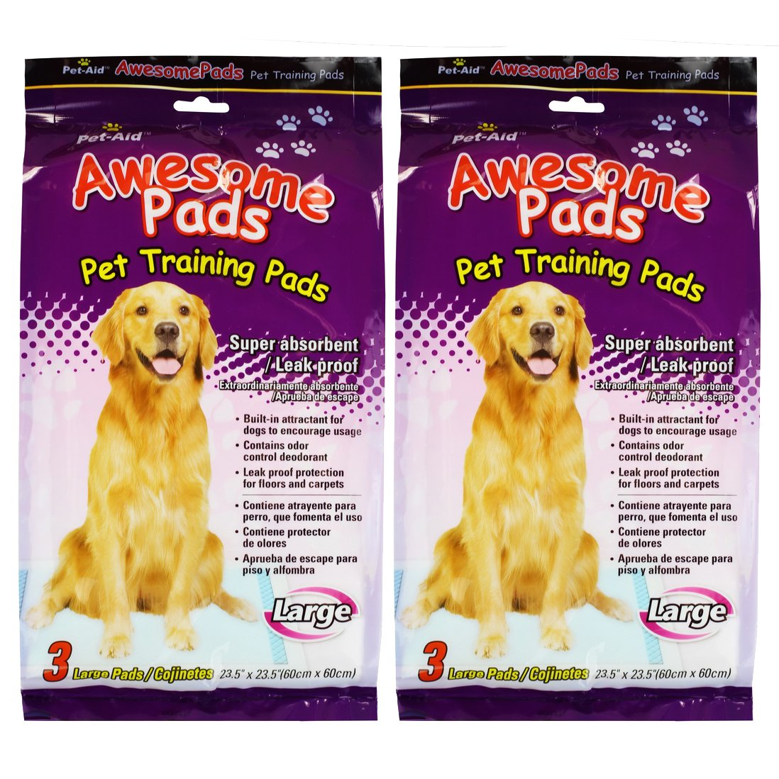 Amazon.com : Pet-Aid Awesome Pads - Puppy Dog Training Pads Large 3 Count, Super absorbent & leak proof : Puppy Pee Pad : Pet Supplies