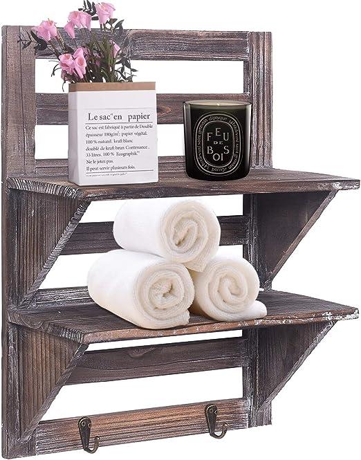 Rose Home Fashion RHF Rustic Shelves Bathroom Shelf Over Toilet Wood Wall  Mounted Shelves for Bathroom Floating Shelves Wall Shelves 2 Hooks ...