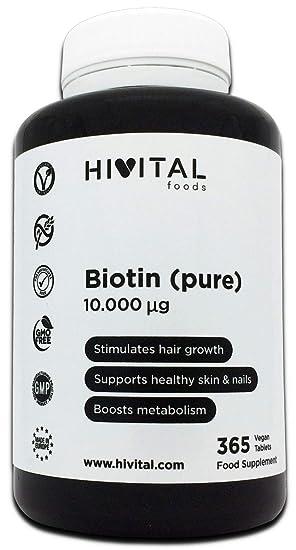 Biotina 10.000 mcg (Vitamina B7) | 365 comprimidos (Suministro anual) | Estimula