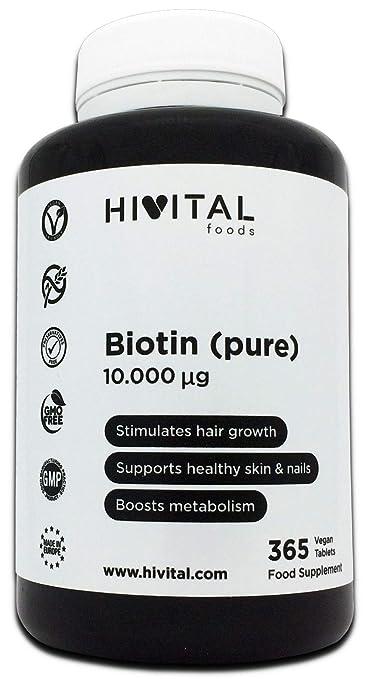 Biotina 10.000 mcg (Vitamina B7) | 365 comprimidos (Suministro anual) | Estimula el crecimiento del cabello, ayuda a mantener la piel y las uñas sanas, ...