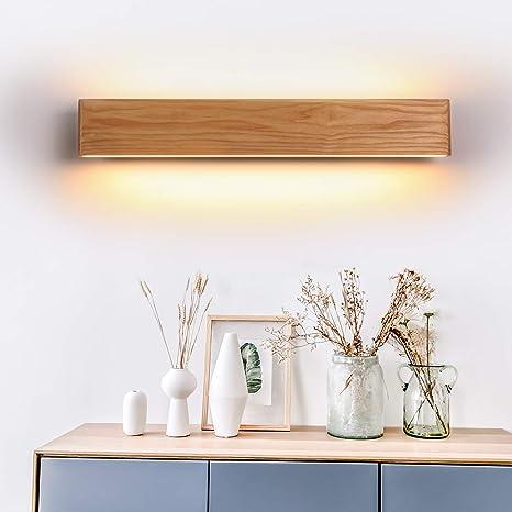 LED Wandleuchte holz,Moderne Wandlampe Holz Flurlampe Nachtlampe,  Schlafzimmer Treppenhaus Flur Wandbeleuchtung Innenbeleuchtung (52CM)