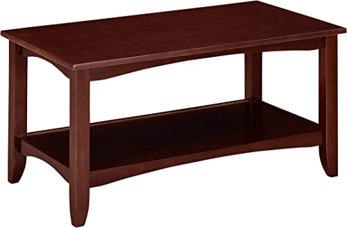 Ravenna Home Dora Classic Shelf Storage Wood Coffee Table, 37 W, Dark Espresso