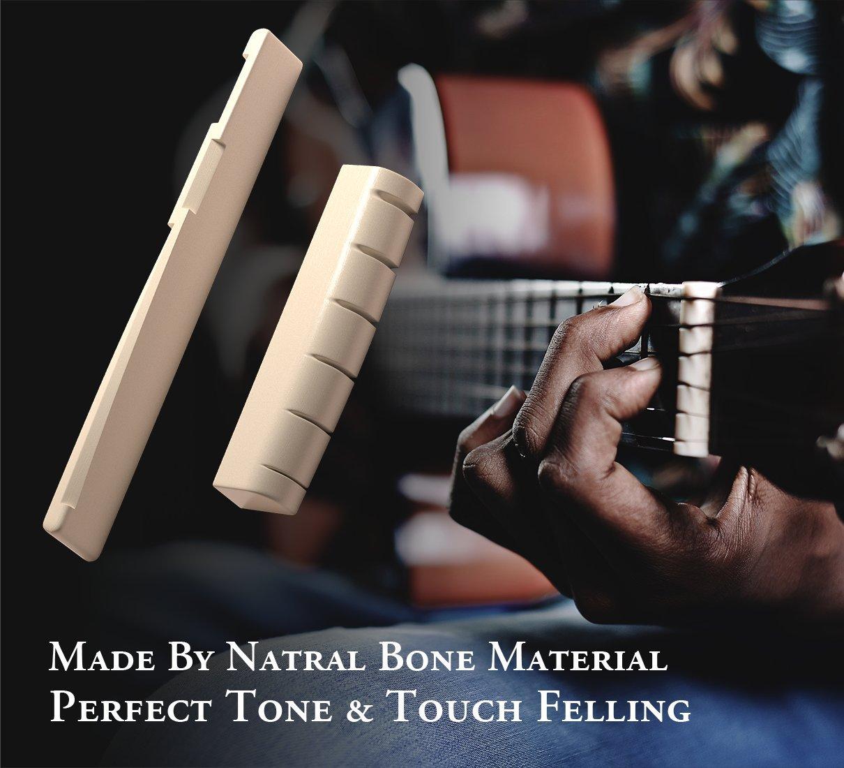 Kit de selleta y cejuela de hueso natural para guitarra, de Gibot, incluye hojas de lija y 13 limas de acero inoxidable de distintos tamaños para guitarra, ...