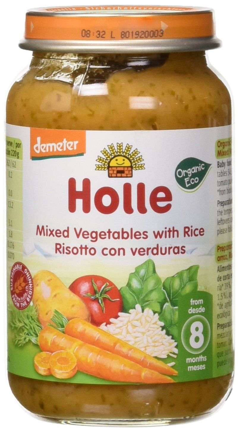 Holle Potito de Verduras con Arroz (+8 meses) - Paquete de 6 x 220 ...