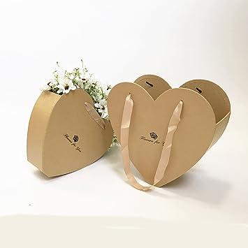 Juego de 2 cajas de regalo con forma de corazón para flores y floristerías, regalo