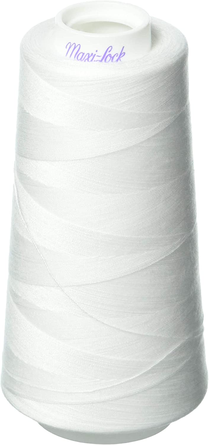 Zipperstop 4 Large Cones (3000 Yards Each) of Polyester Sewing Quilting Serger White-Maxi Lock All Purpose Thread