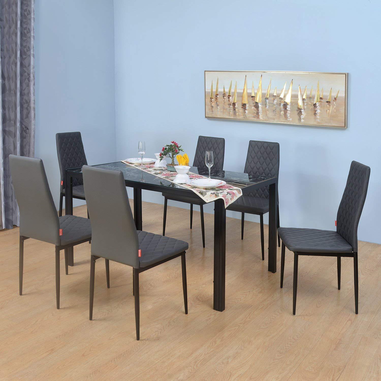 @home by Nilkamal Caleb 6 Seater Dining Set  Black  Dining Room Sets