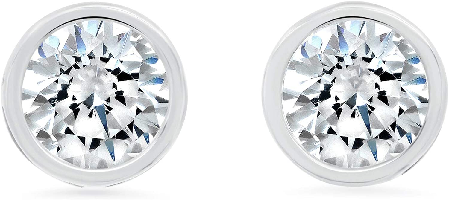 14k Solid Gold ROUND Bezel-Set Stud Earrings with Genuine Swarovski Zirconia | 0.50 to 2.0 CTW | With Gift Box