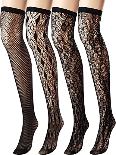 Aneco 4 Pairs Over Knee-High Socks Knee Thigh Stockings Women Sock for Daily Wear Cosplay