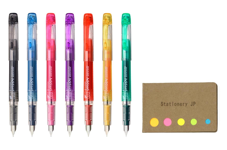 Platinum Preppy Rainbow Fountain Pen, Fine Point 03, 7 Colors Ink, Sticky Notes Value Set