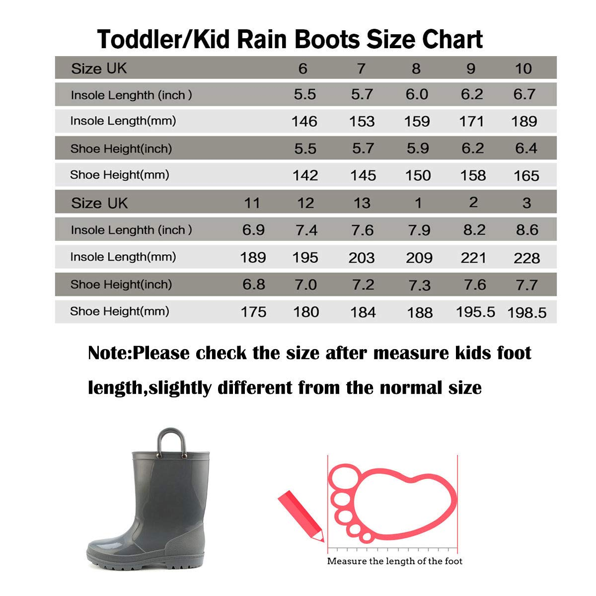 KomForme Kids Rain Boots, Environmental Material Boots with Memory Foam Insole and Easy-on Handles Grey by KKomForme (Image #2)