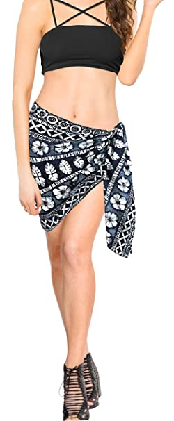 "e713d3c974 LA LEELA Likre Swimsuit Casual Beach Women Wrap Sarong Printed  78""X21"" Black_352"